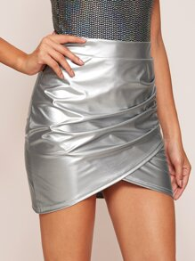Metallic | Leather | Ruched | Skirt | Wrap | Faux
