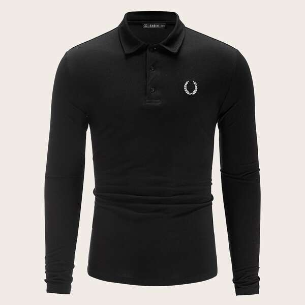 Men Embroidered Detail Polo Shirt, Black