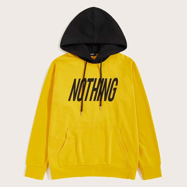 Men Letter Graphic Two Tone Pocket Front Hoodie