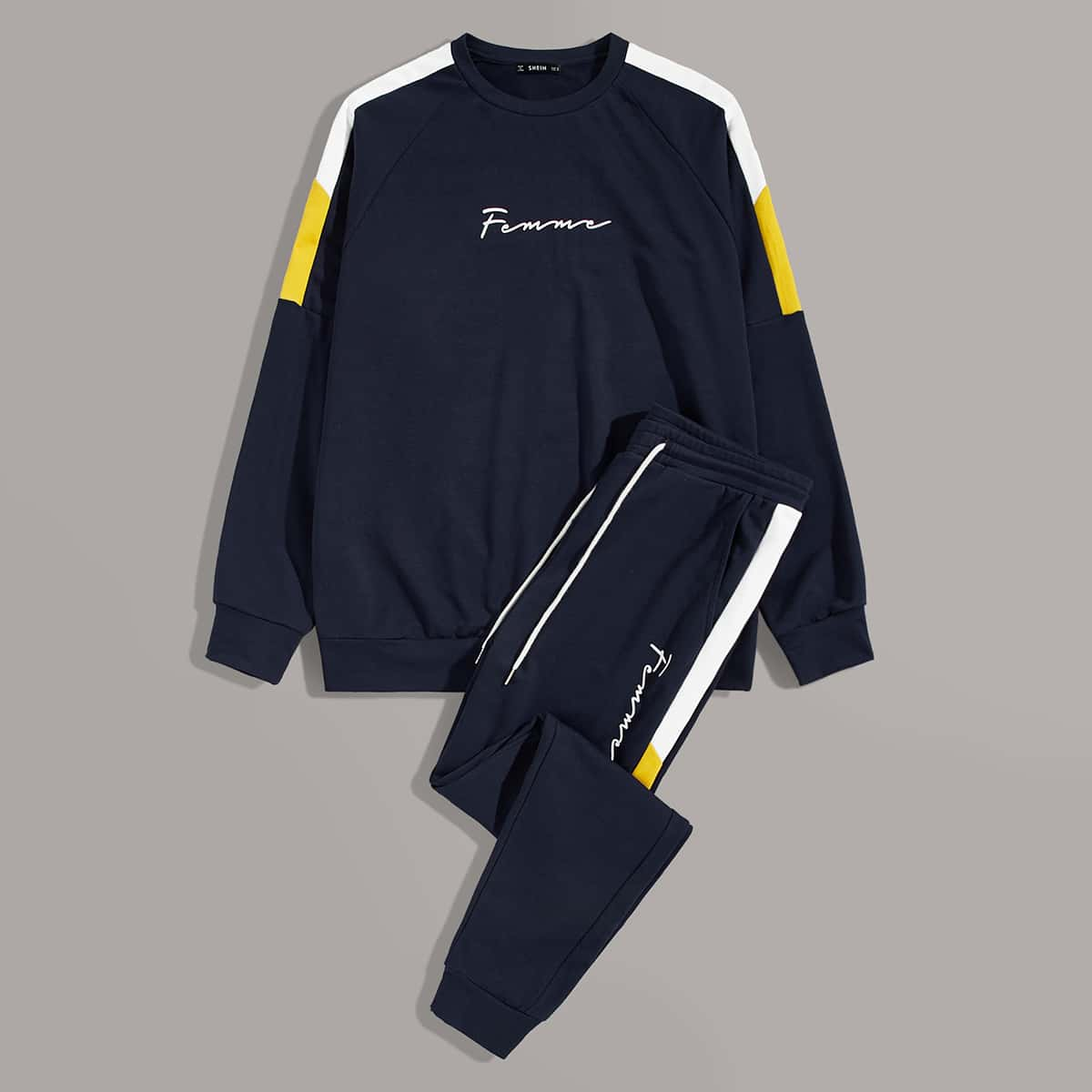 Мужские контрастные пуловер и брюки с текстовым узором от SHEIN