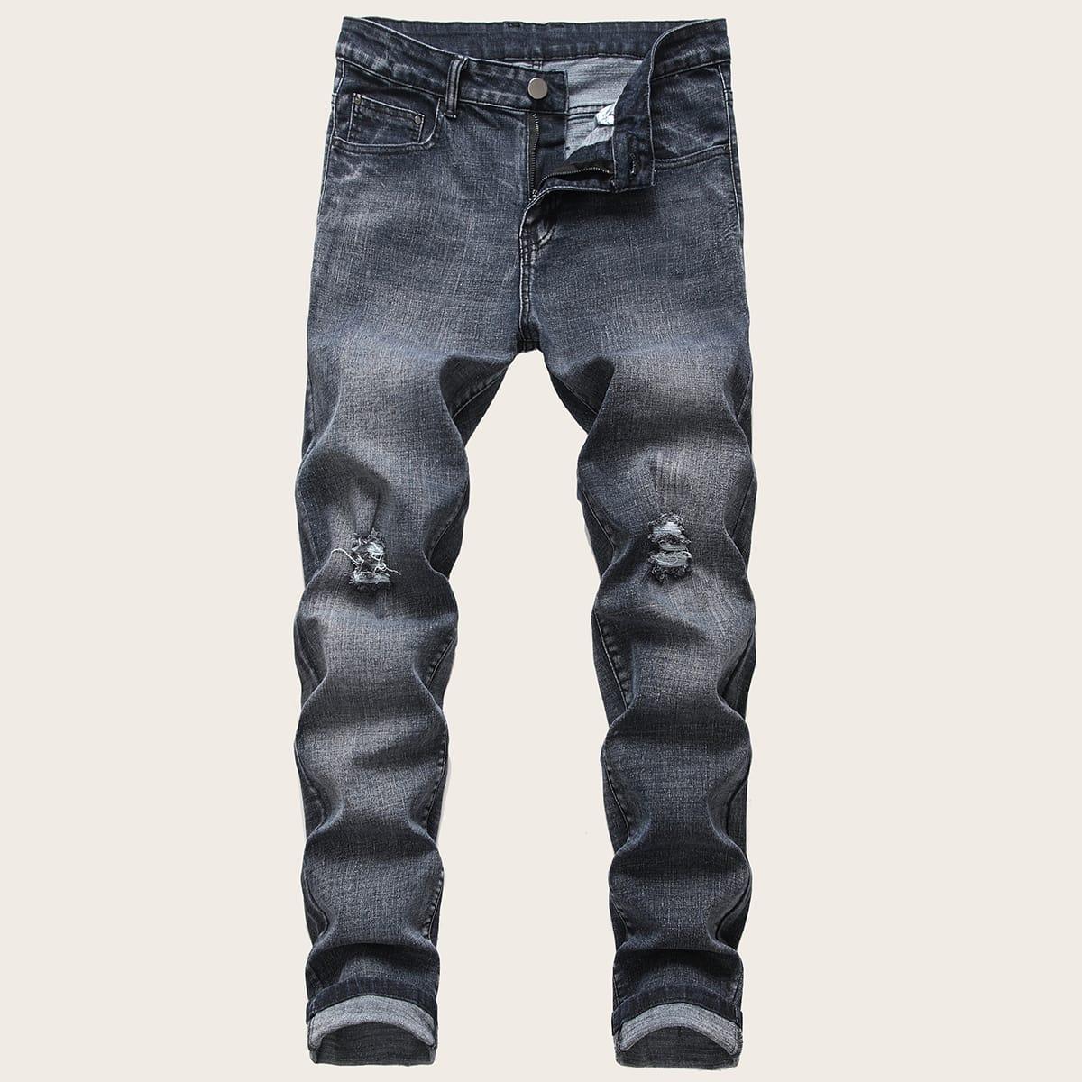 Grijs Casual Heren Jeans Gescheurd