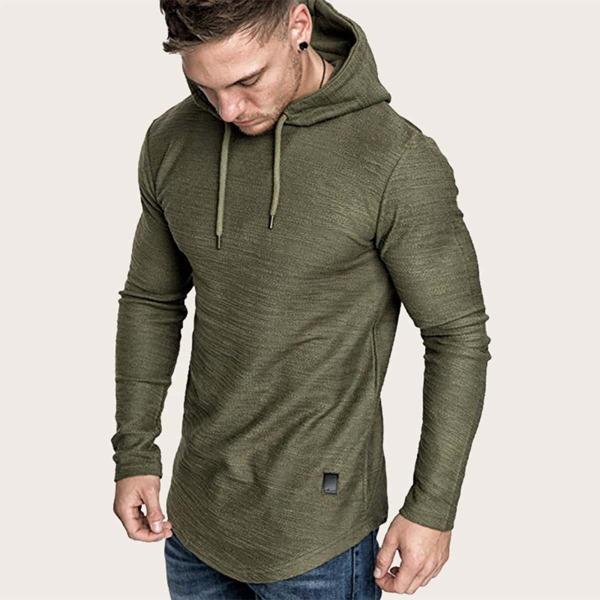 Men Curved Hem Drawstring Hooded Sweatshirt, Army green