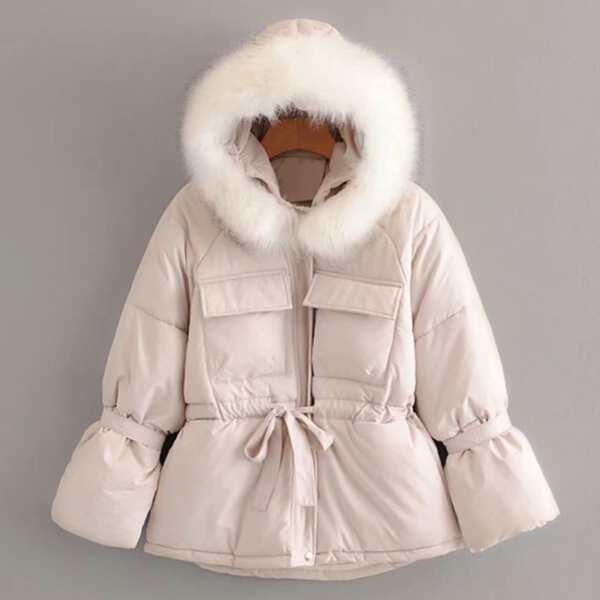 Flap Pocket Contrast Faux Fur Hooded Puffer Coat, Beige