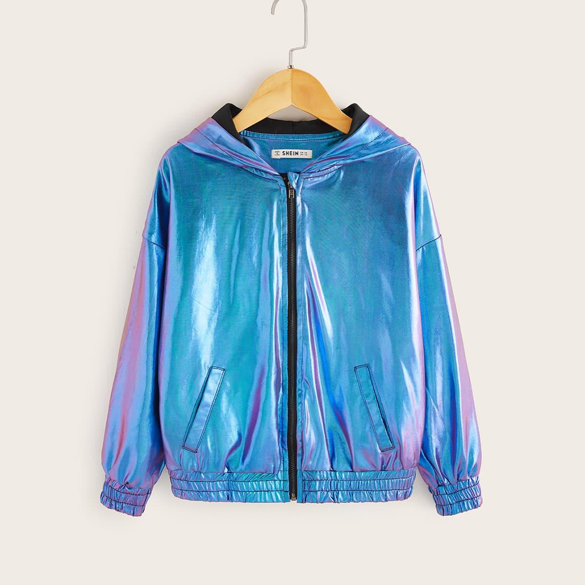 Куртка с капюшоном на молнии для девочек от SHEIN