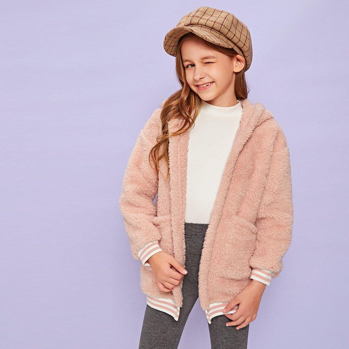 Плюшевая куртка с карманом и полосками для девочек от SHEIN