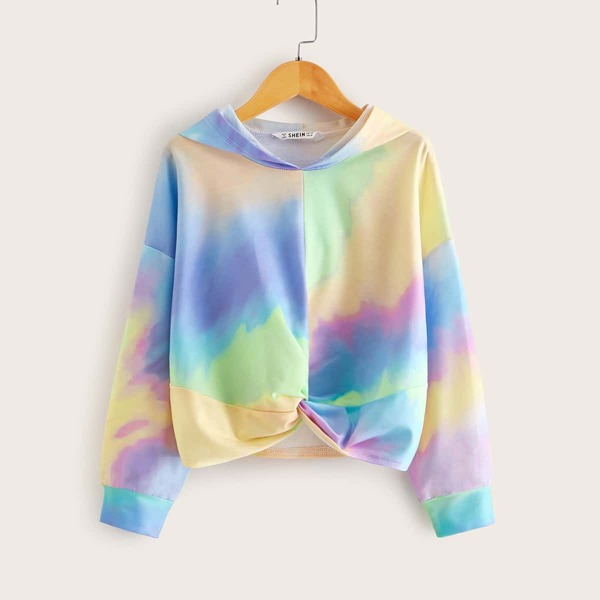 Girls Tie Dye Twist Front Pullover, Multicolor