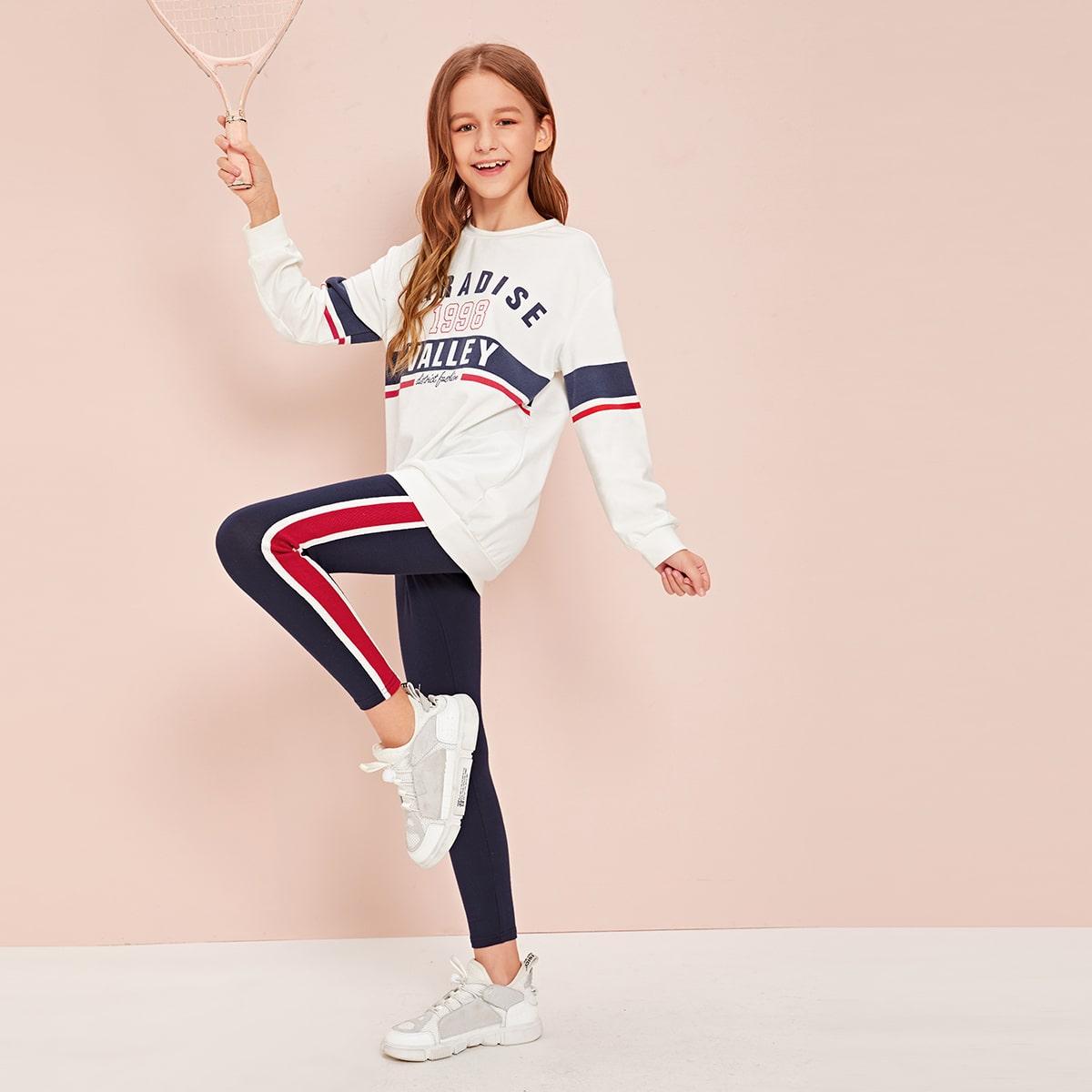 Пуловер с текстовым принтом и леггинсы с полосками для девочек от SHEIN