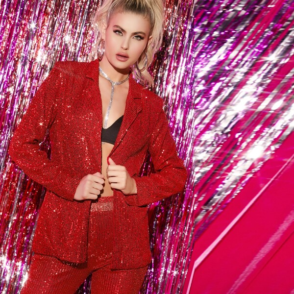 Notched Collar Sequin Blazer, Red bright