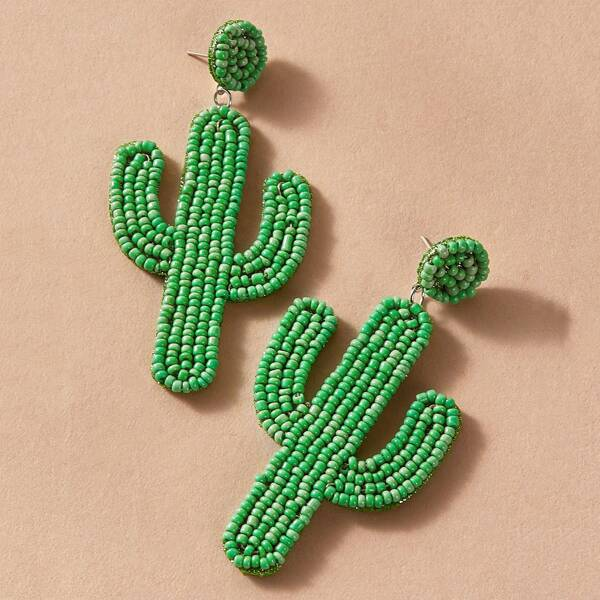 1pair Cactus Drop Earrings, Green
