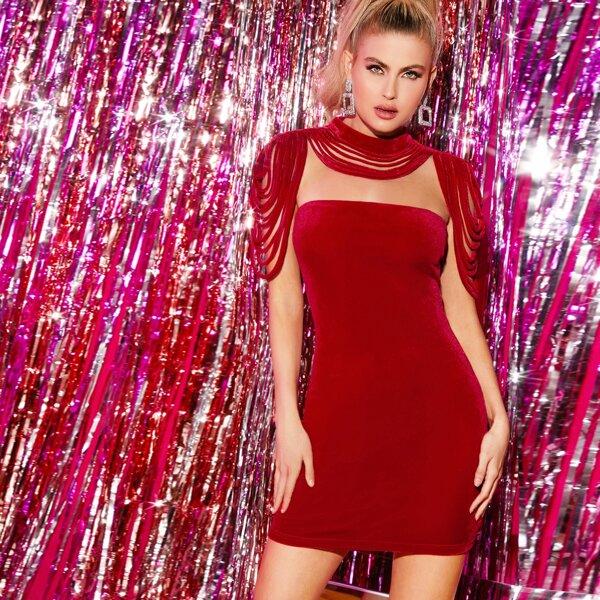 Zip Back Velvet Bodycon Dress With Laddering Cut Choker, Red