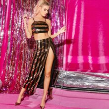 Zipper Back Striped Sequin Cami Crop Top & Split Thigh Skirt Set