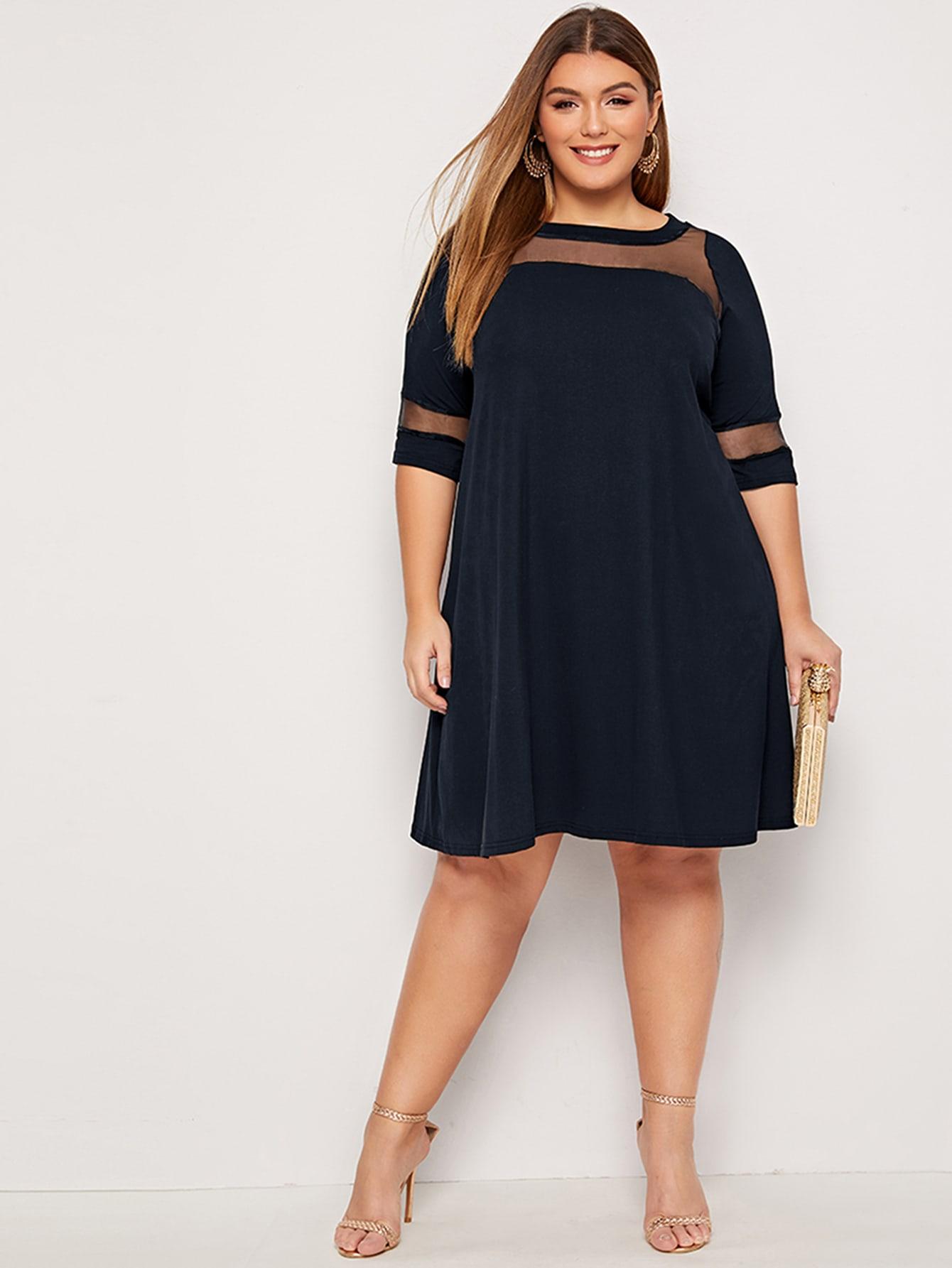 Однотонное платье размера плюс с сетчатой вставкой