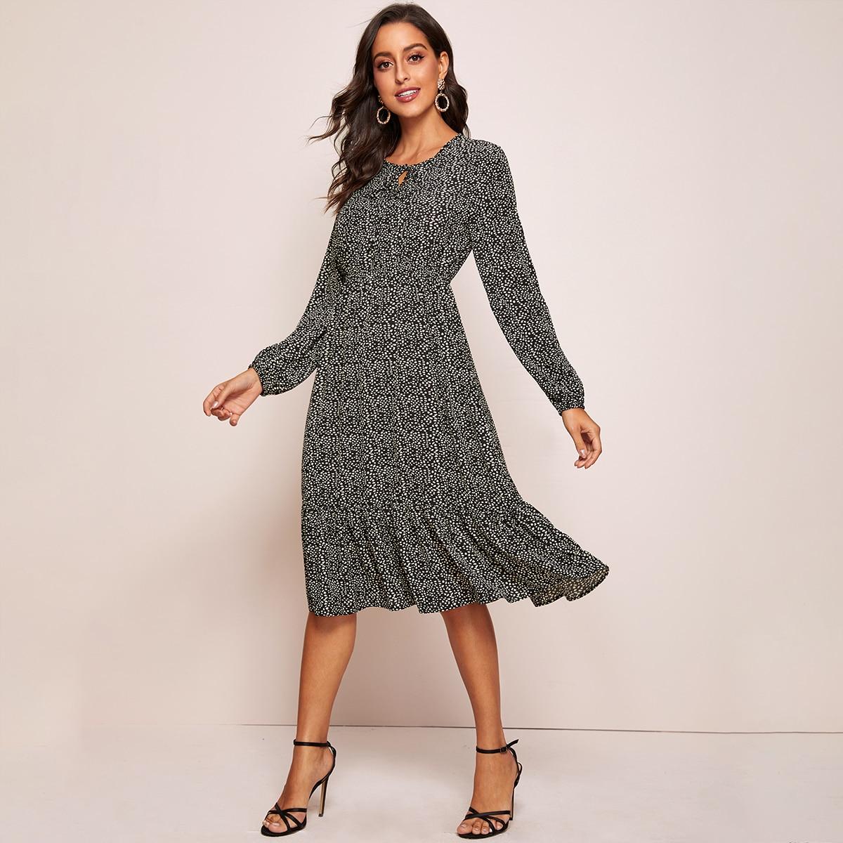 SHEIN / A Linie Kleid mit Muster und Raffung