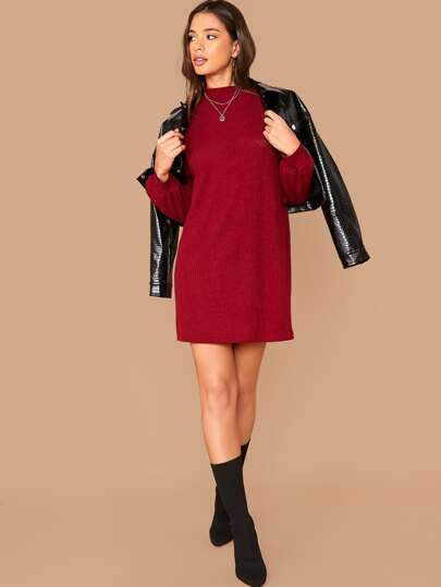 SheIn / Drop Shoulder Mock-neck Rib-knit Dress