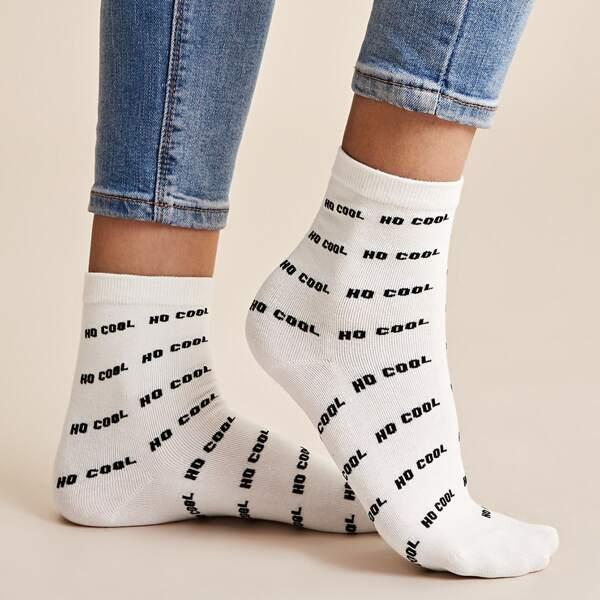 1pair Slogan Graphic Socks, Black and white