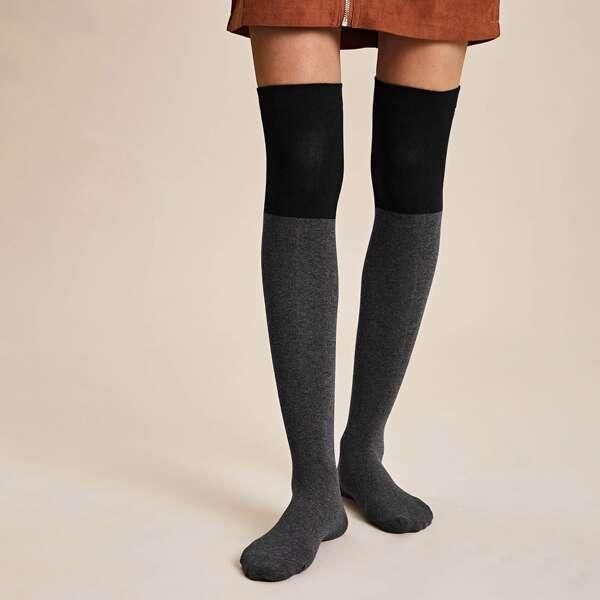 1pair Two Tone Knee Length Socks, Multicolor