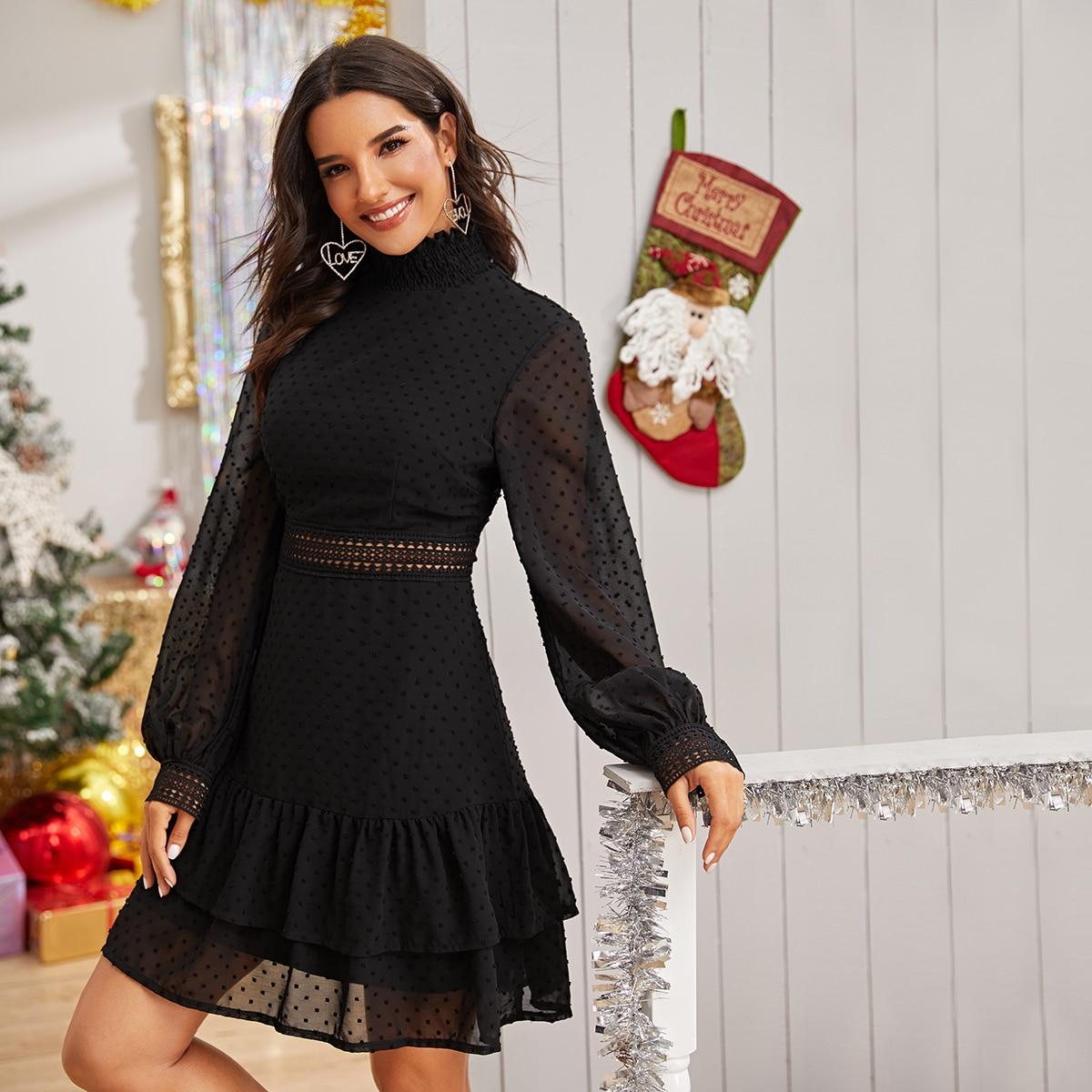 Стильное платье с многослойным низом фото