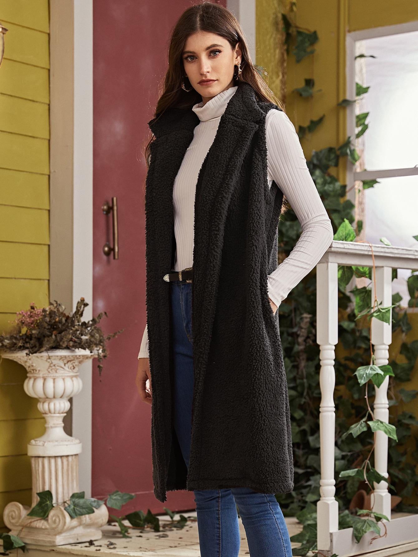 Однотонное плюшевое пальто-жилет с поясом