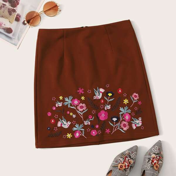 Embroidered Bird and Botanical Detail Zip Back Skirt, Brown