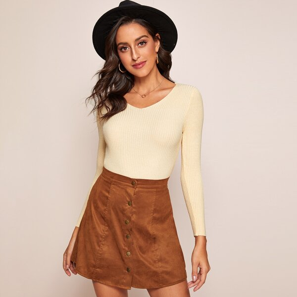 Solid V-Neck Ribbed Knit Sweater