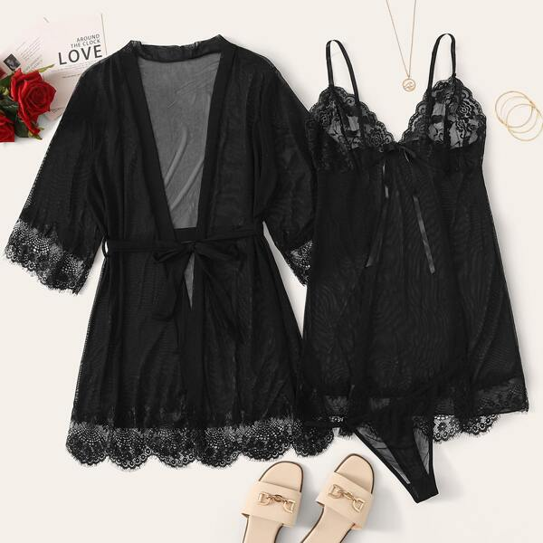 3pcs Contrast Lace Mesh Slips With Thong & Belted Robe, Black