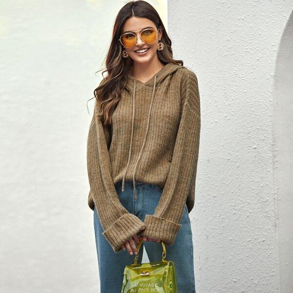 Drawstring Detail Knit Hooded Sweater, Khaki