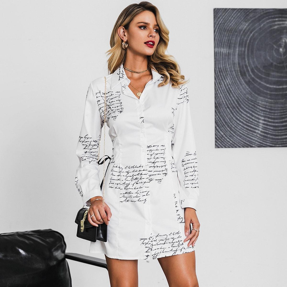 Glamaker платье-рубашка с пуговицами и текстовым принтом