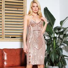 LOVE&LEMONADE Geometric Backless Bodycon Cami Sequin Dress