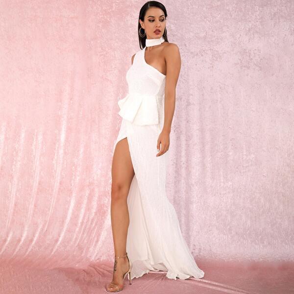 LOVE&LEMONADE One Shoulder Split Thigh Ruffle Sequin Prom Dress, White