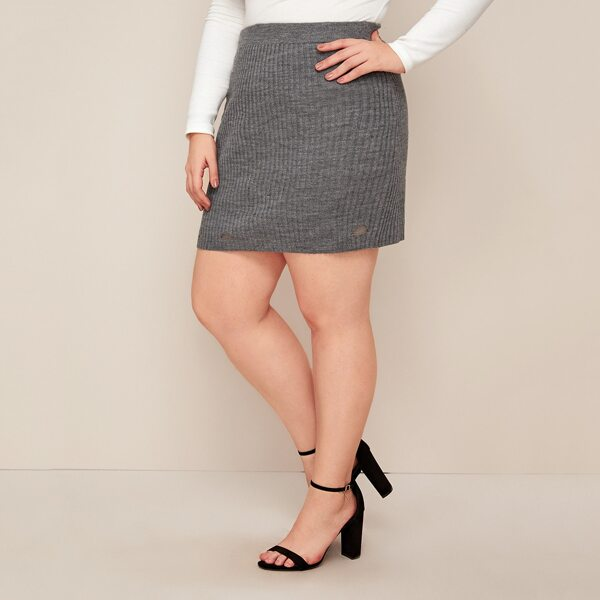 Plus Ripped Ribbed Knit Sweater Skirt