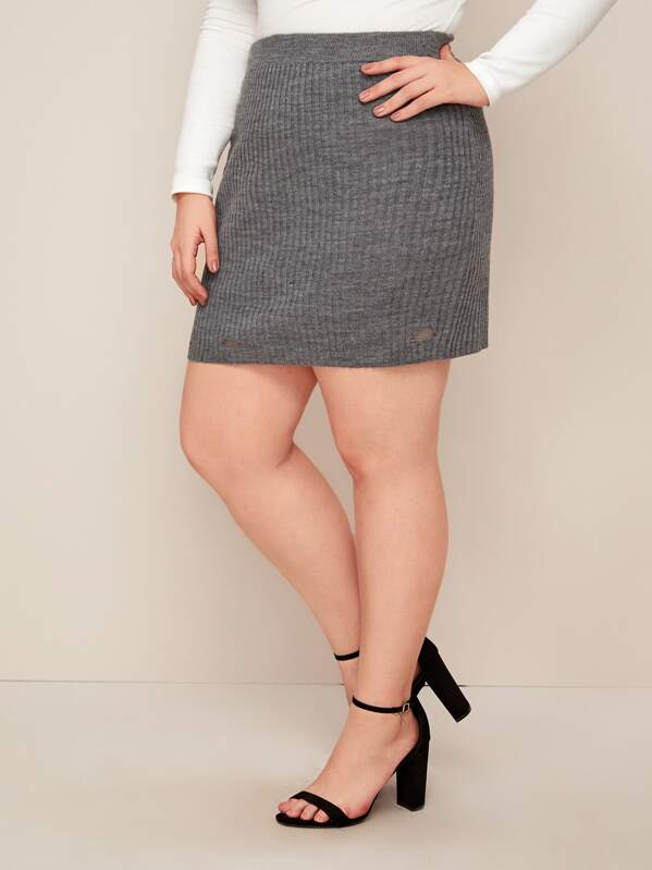 Plus Ripped Ribbed Knit Sweater Skirt, Ella