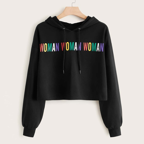 Plus Colorful Letter Graphic Drawstring Hoodie, Black