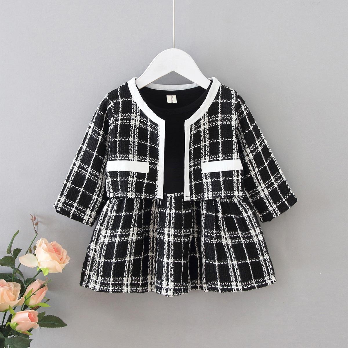 Твидовая куртка в клетку и платье для девочек от SHEIN