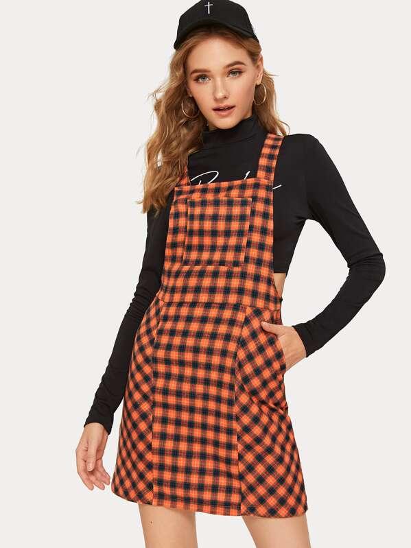 Plaid Pocket Front Overall Dress, Orange, Sava