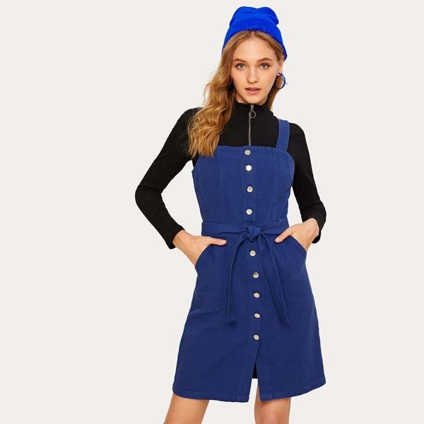 Button Front Self Tie Denim Overall Dress, Blue