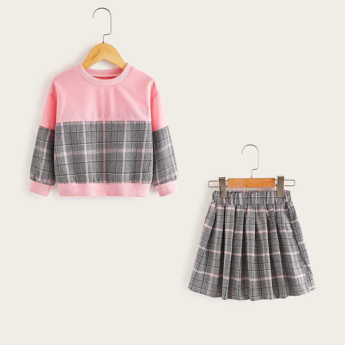 Контрастный свитшот в клетку и юбка для девочек от SHEIN