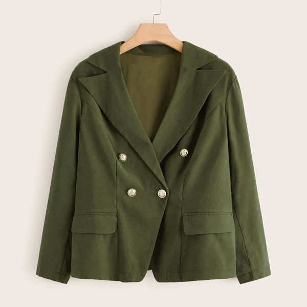 Plus Solid Double Breasted Blazer, Army green