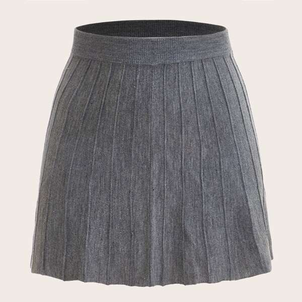 Plus Ribbed Knit A-Line Sweater Skirt