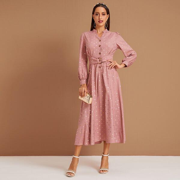 Polka Dot Print Button Belted Blouse Dress, Pink
