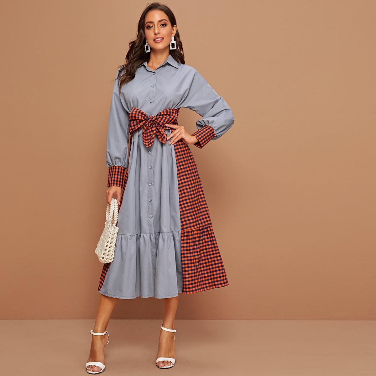 Платье-блуза в клетку с поясом и оборками
