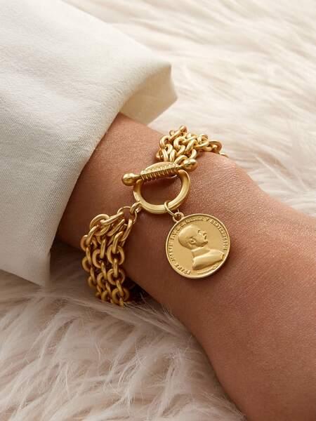 1pc Coin Charm Chain Bracelet