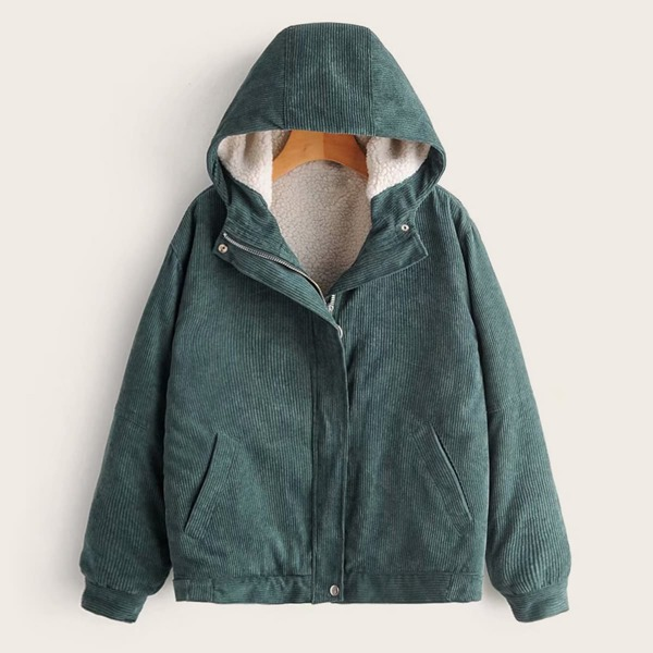 Zip Up Lined Hooded Corduroy Coat, Green
