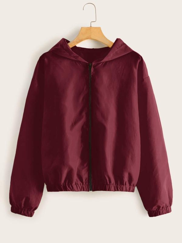 Solid Zip Up Hooded Windbreaker Jacket, Burgundy