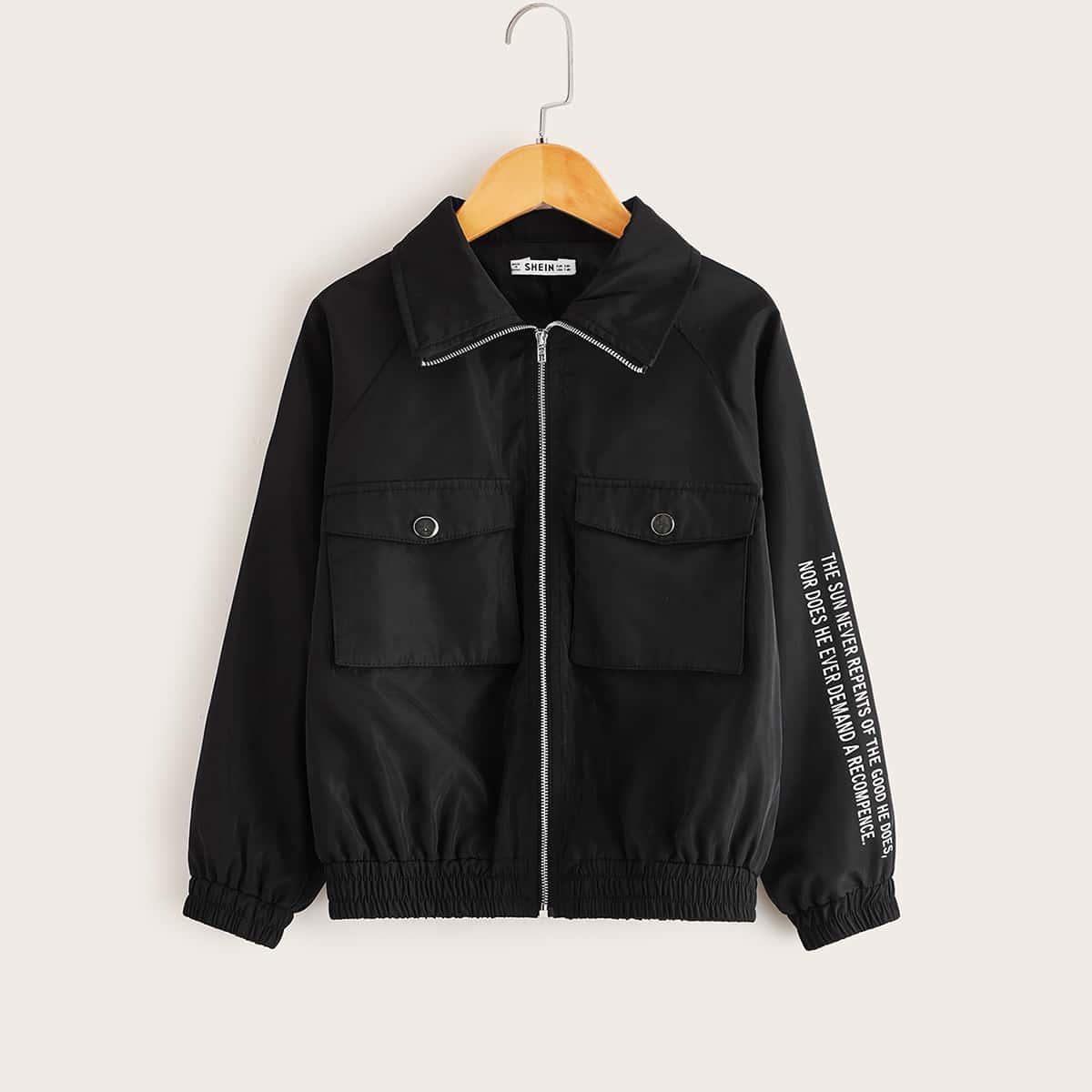 Куртка с текстовым принтом и карманом для девочек от SHEIN