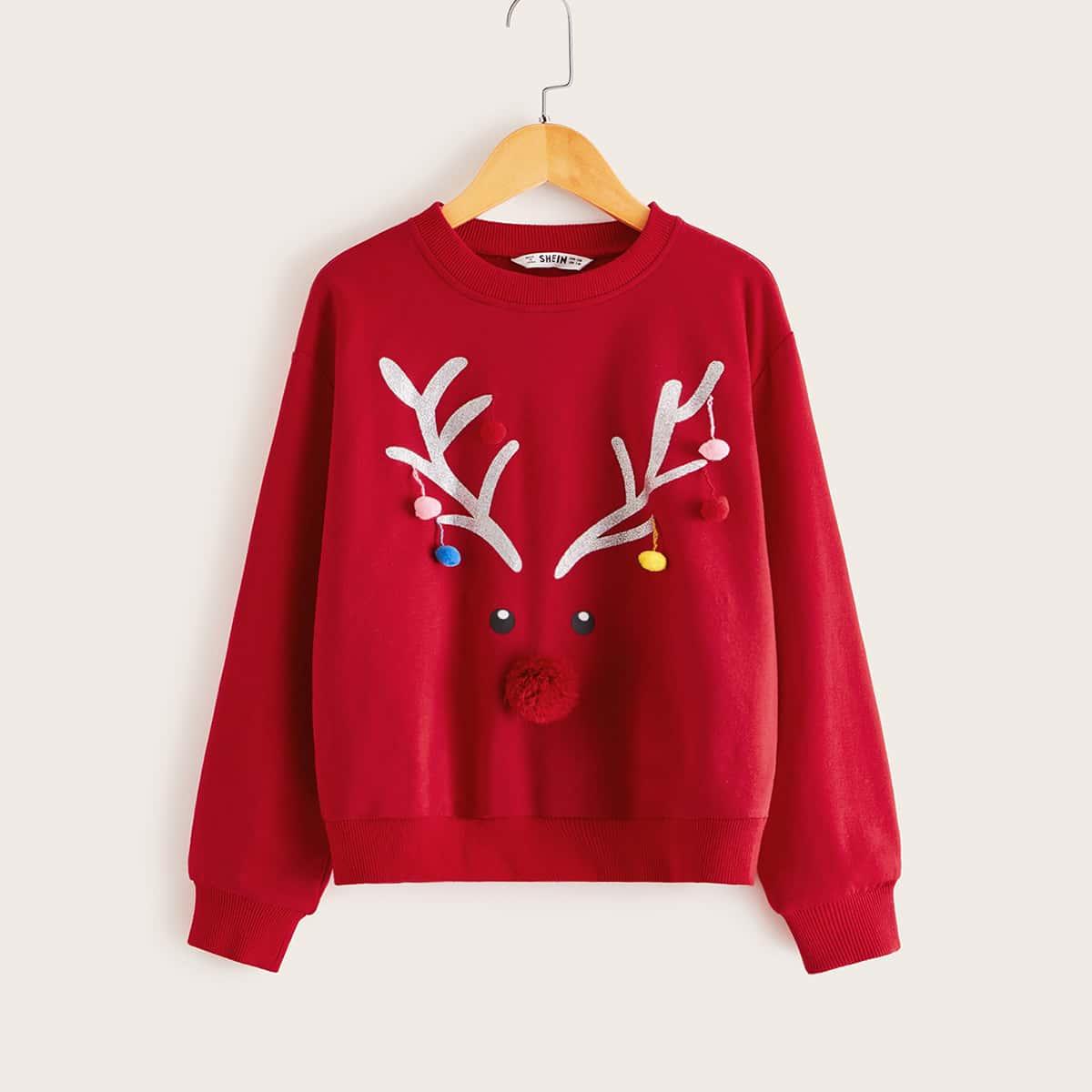 Пуловер с принтом и пуговицами для девочек от SHEIN