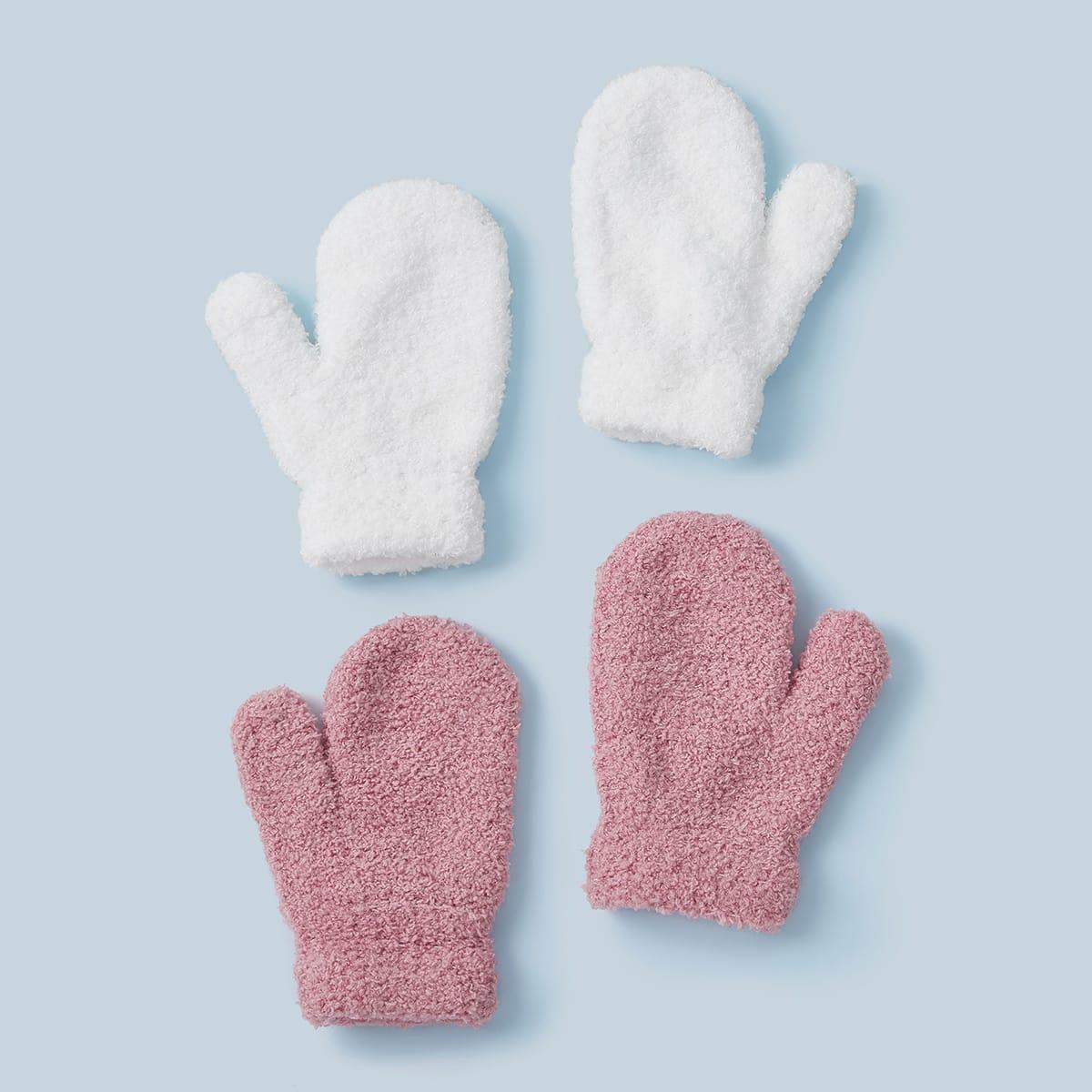 2 paar Fluffy handschoenen voor peuters