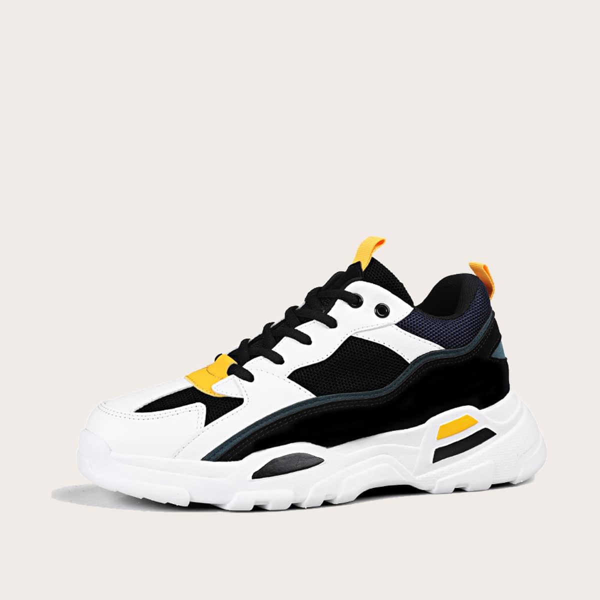 Мужские контрастные кроссовки на платформе