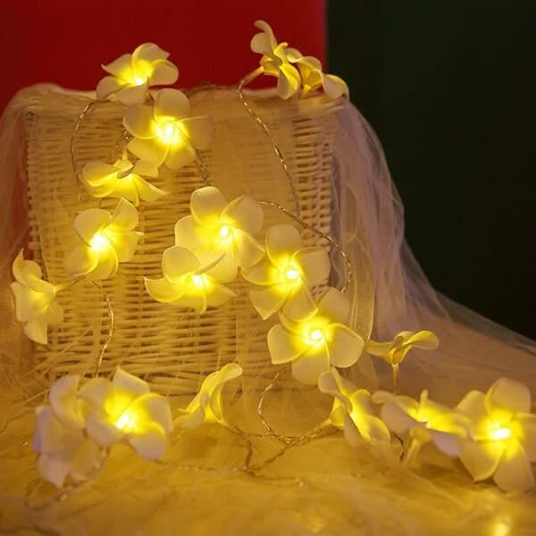 10pcs Plumeria Flower Bulb String Light, Yellow