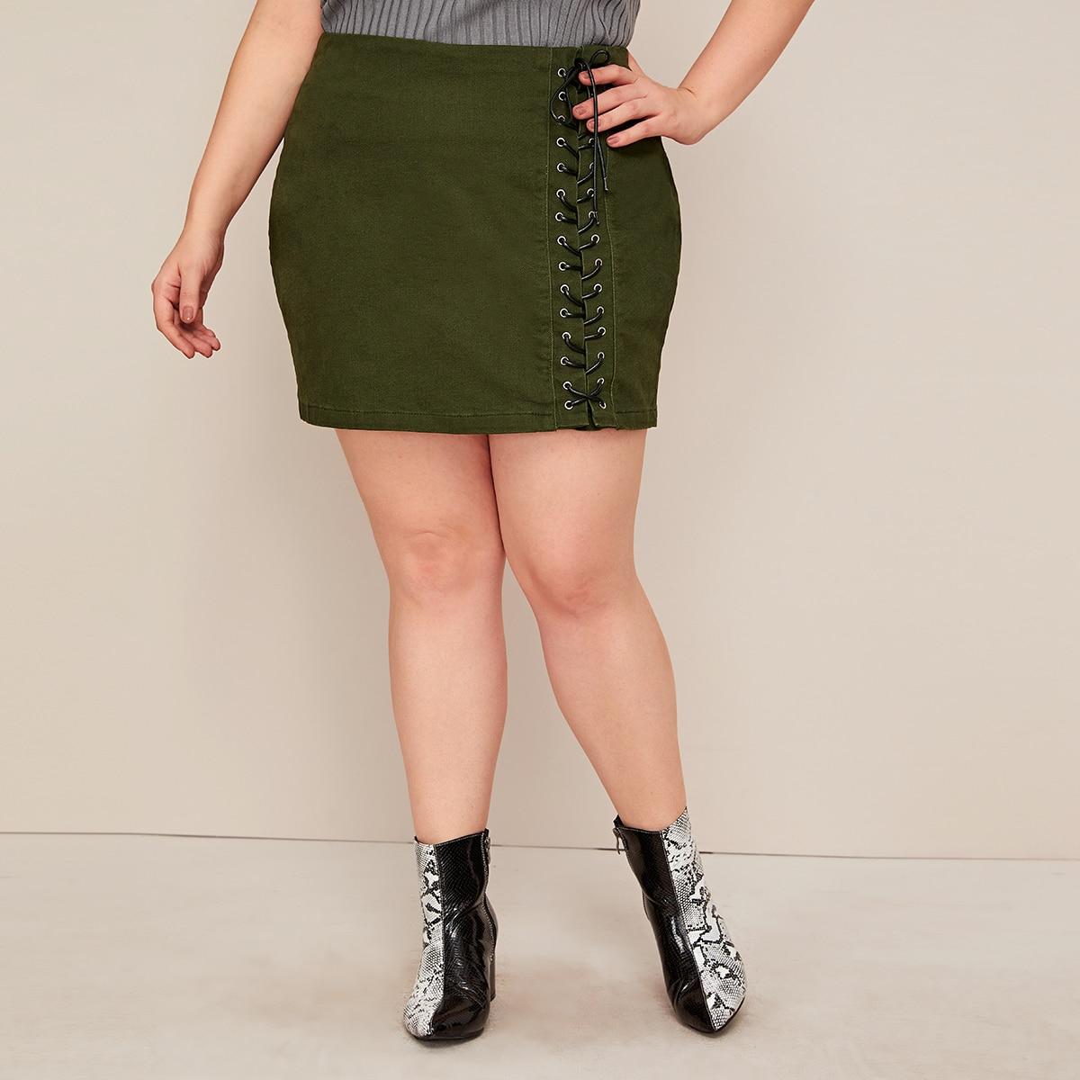 Leger groen Casual Vlak Grote maten: jeansrokken Kant