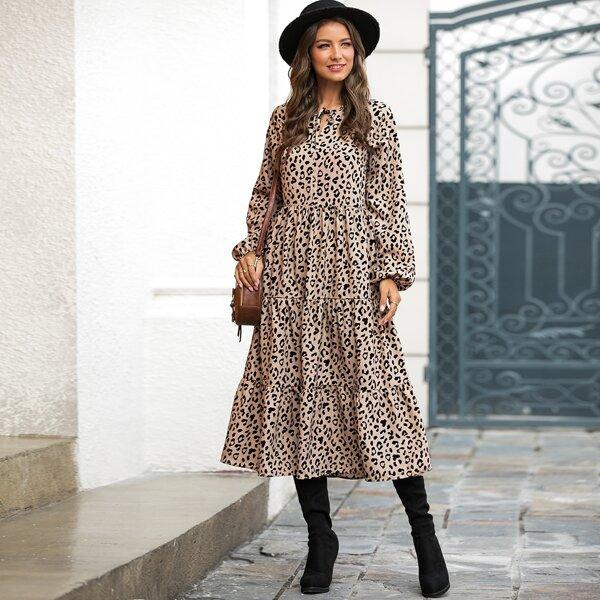 Tie Front Leopard Print A-line Dress, Multicolor